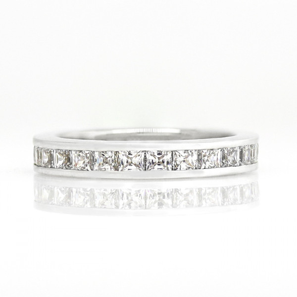 Channel-Set Princess Eternity Band - 14k White Gold - Ring Size 6.5