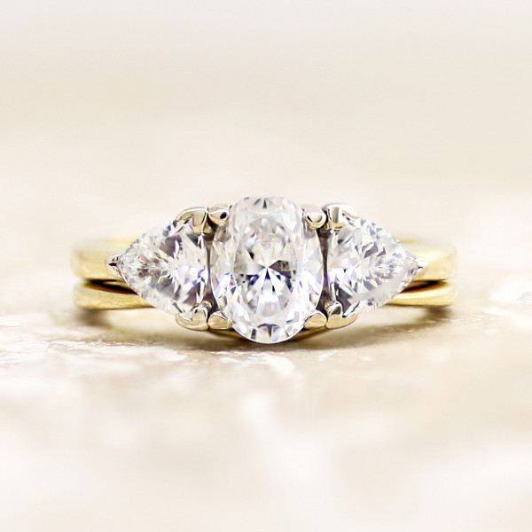 Timeless with 1.21 Carat Oval Center and One Matching Band - 14k Yellow Gold - Ring Size 6.5-7.5