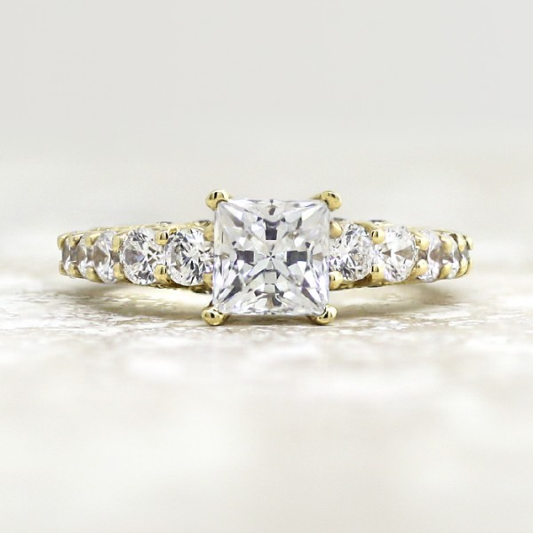 Retired Model Pompeii with 1.24 carat Princess Center - 14k Yellow Gold - Ring Size 7.25-8.75