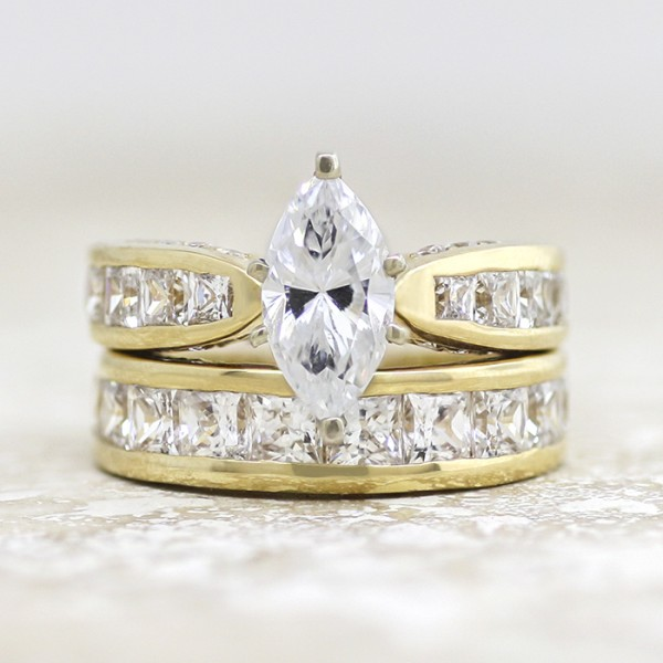 Retired Model Deco with 2.11 carat Marquise Center and One Matching Band - 14k Yellow Gold - Ring Size 7.0-10.0