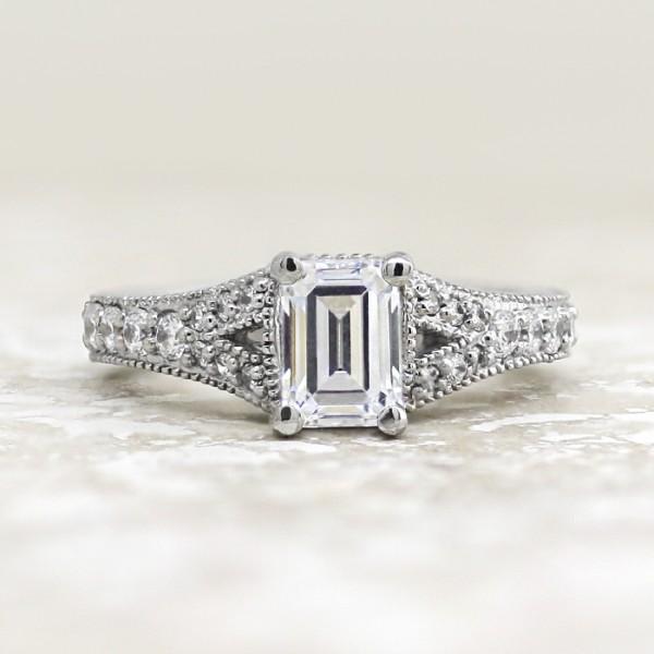 Retired Model Valencia with 1.06 carat Emerald Center - Palladium - Ring Size 6.0