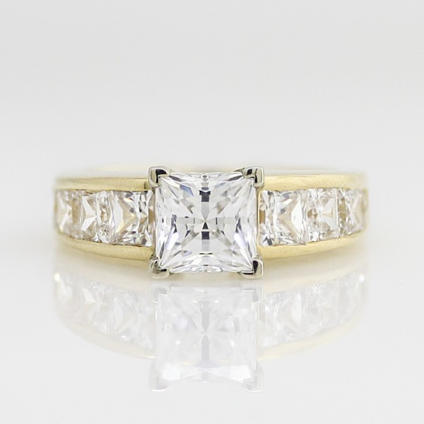 Retired Model Escada with 1.96 carat Princess Center - 14k Yellow Gold - Ring Size 6.0-9.0