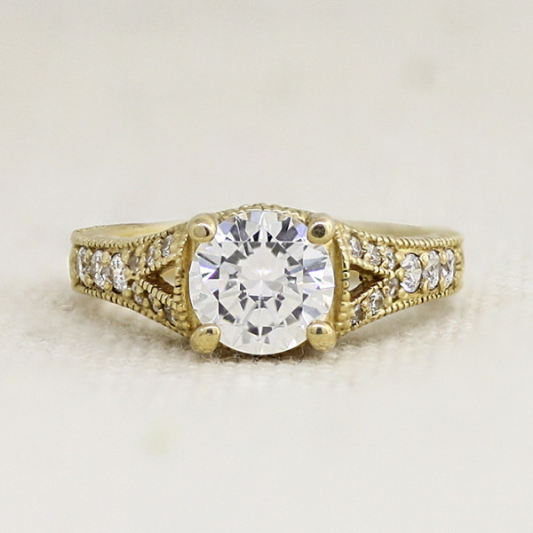 Retired Model Valencia with 1.03 carat Round Brilliant Center - 14k Yellow Gold - Ring Size 5.0-7.5