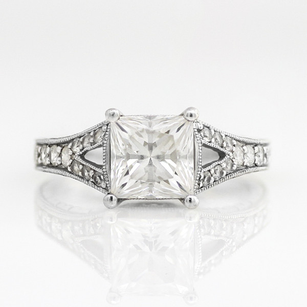 Retired Model Valencia with 2.40 carat Princess Center - 14k White Gold - Ring Size 8.5-11.0