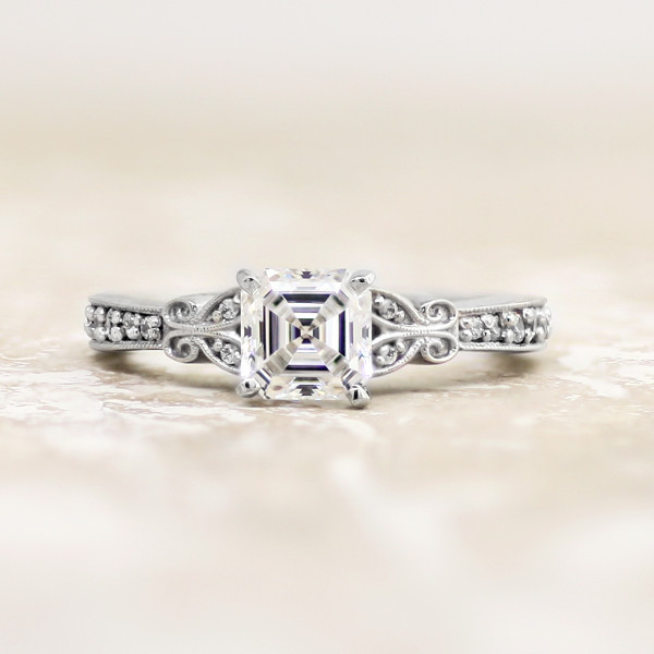 French Quarter with 1.59 carat Asscher Center - Palladium - Ring Size 9.0