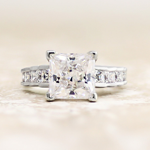 Cinderella Staircase with 3.01 carat Princess Center - Platinum - Ring Size 5.0