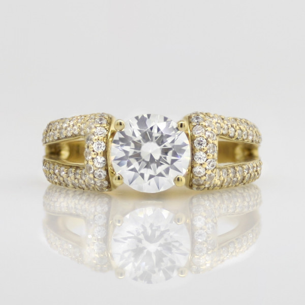 La Boheme with 2.04 carat Round Brilliant Center - 14k Yellow Gold - Ring Size 8.0