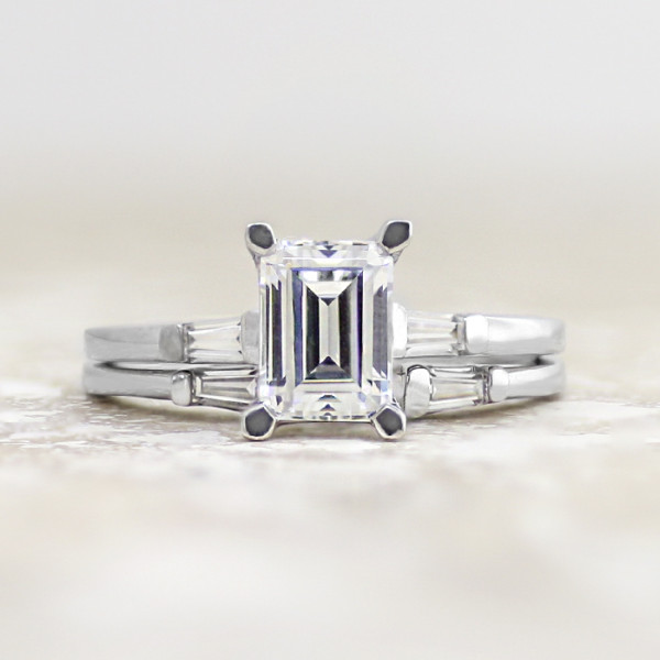 Endless Days with 1.74 carat Emerald Center and One Matching Band - 14k White Gold - Ring Size 9.75-11.75