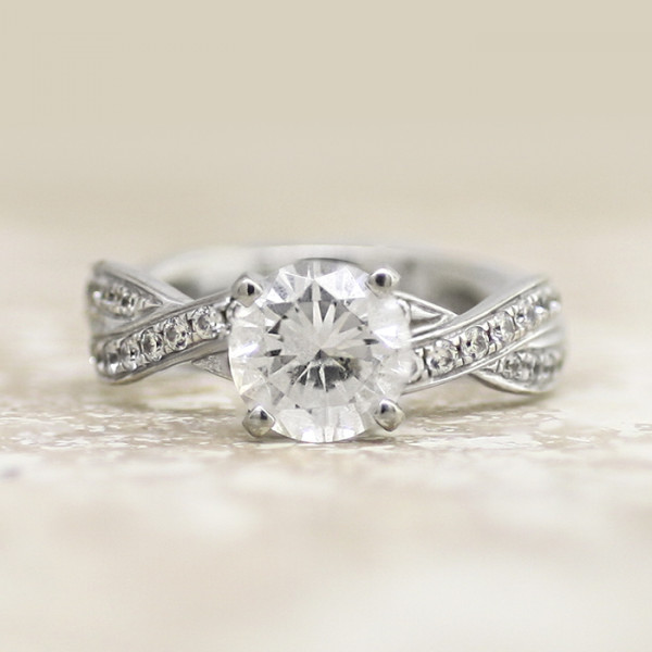 Discontinued Rialto with 1.03 Carat Round Brilliant Center - 14k White Gold - Ring Size 9.0