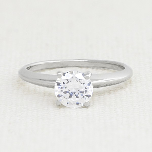 Tiffany-Style Solitaire with 0.56 Carat Round Brilliant Center - 14k White Gold - Ring Size 5.0-9.0