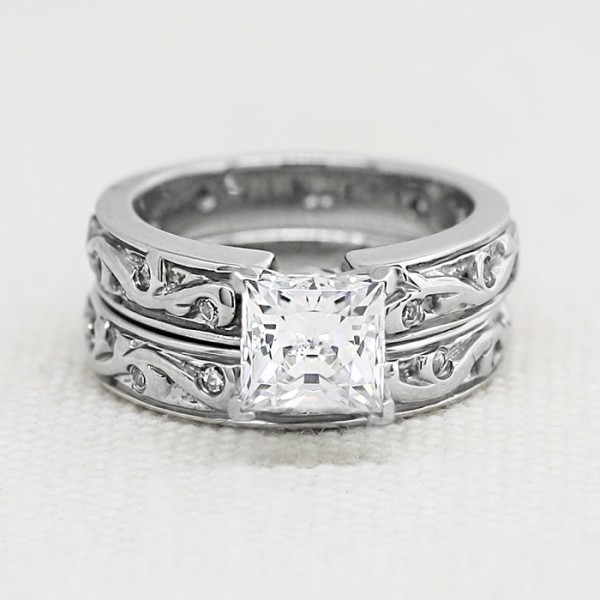 Morning Glory with 1.59 carat Princess Center and One Matching Band - Palladium - Size 5.25-6.25
