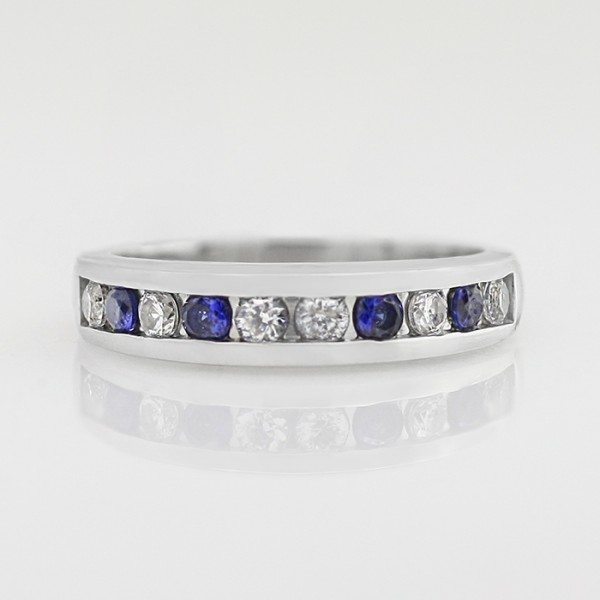 Alternating Sapphire and White Band - 14k White Gold - Ring Size 7.75-8.75