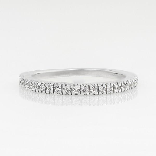 Petite Semi-Eterntiy Band - 14k White Gold - Ring Size 7.25