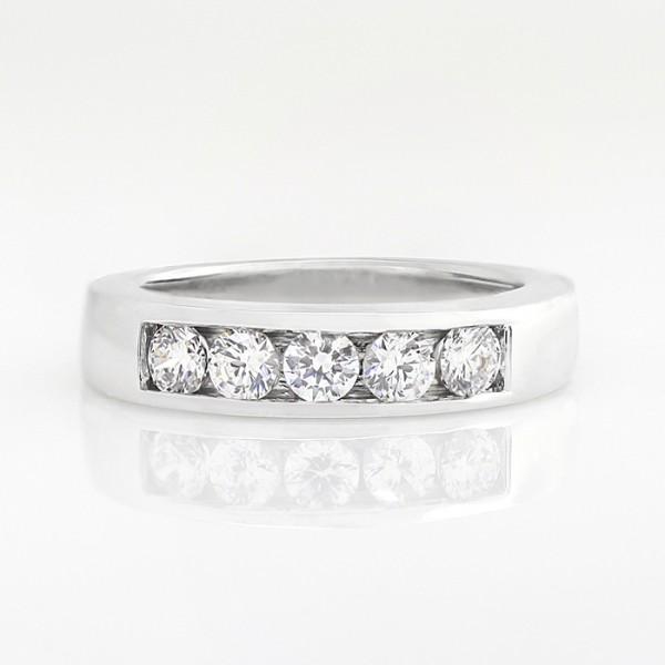 5-Stone Round Brilliant Cut Band - 14k White Gold - Ring Size 10.0
