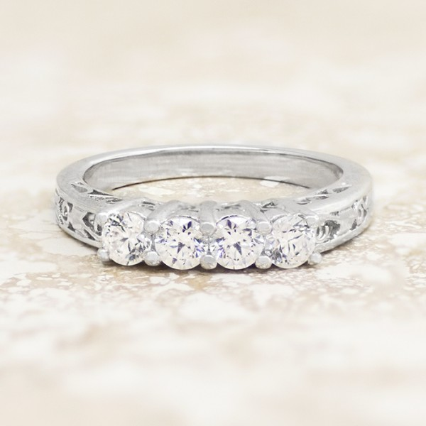 Modified Bramble Matching - 14k White Gold - Ring Size 5.5-7.0