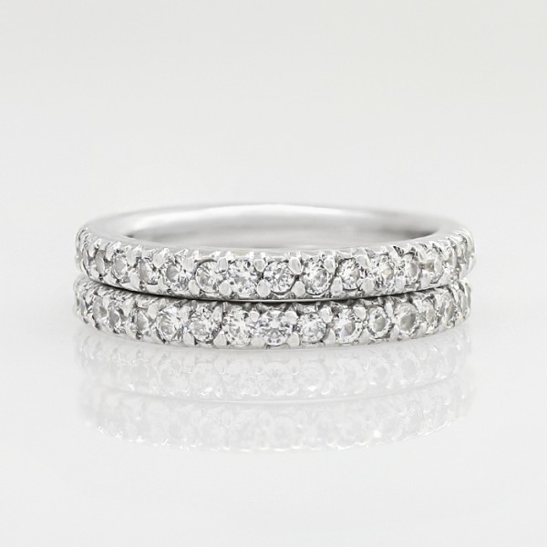 Semi-Eternity Band with Round Brilliant Accents - 14k White Gold - Ring Size 8.0