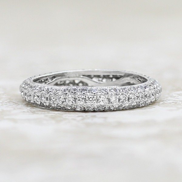 Discontinued Louvre Matching Band - 14k White Gold - Ring Size 5.0