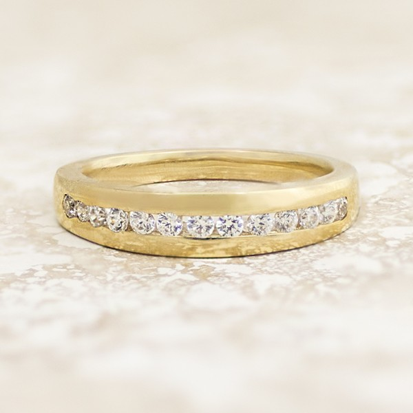 Channel Set Round Brilliant Band - 14k Yellow Gold - Ring Size 6.25-7.25