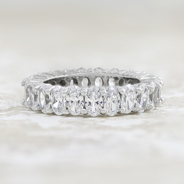 Modified True Treasure with Oval Nexus Diamonds - 14k White Gold - Ring Size 6.0
