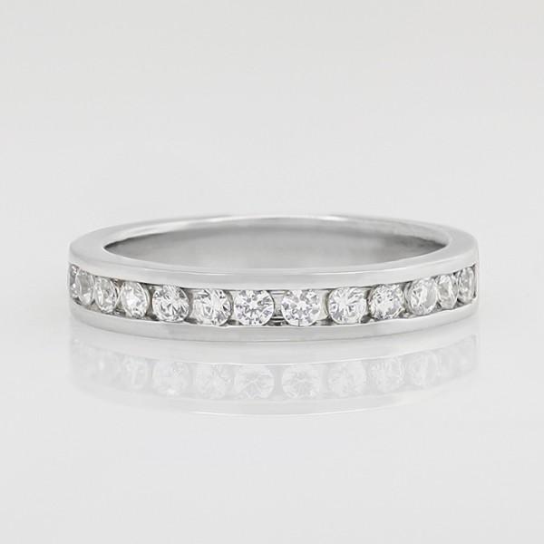 Channel-Set Semi-Eternity Band with Round Brilliant Nexus Diamonds - Palladium - Ring Size 7.25