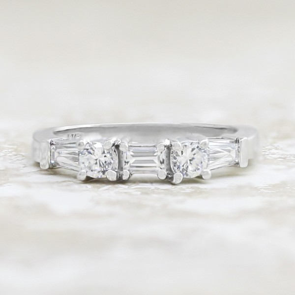 Round Brilliant and Baguette Band - 14k White Gold - Ring Size 5.0-5.75