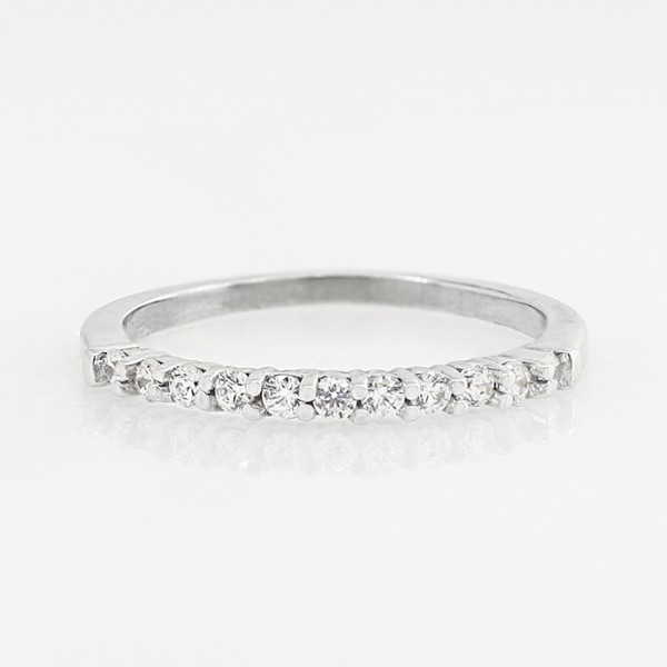 Slim Round Brilliant Band - 14k White Gold - Ring Size 7.0-8.0