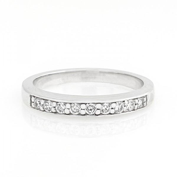 Petite Round Brilliant Cut Band - 14k White Gold - Ring Size 6.0-7.75