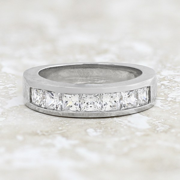 Bold Princess Cut Band in Channel Setting - 14k White Gold - Ring Size 5.75