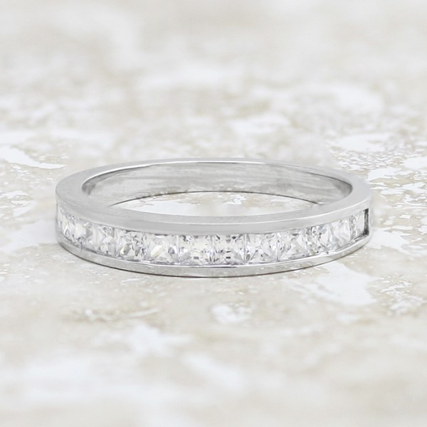 Petite Band with Princess Cut Stones - 14k White Gold - Ring Size 6.0