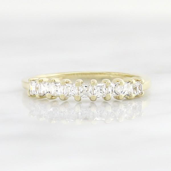 Petite Princess Cut Semi-Eternity Band - 14k Yellow Gold - Ring Size 5.25-6.25