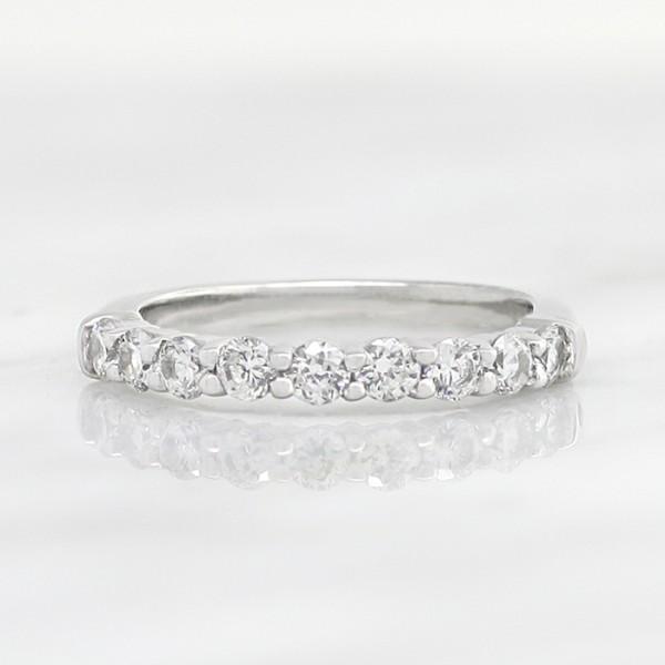 Slender Round Brilliant Band - 14k White Gold - Ring Size 4.75-5.75