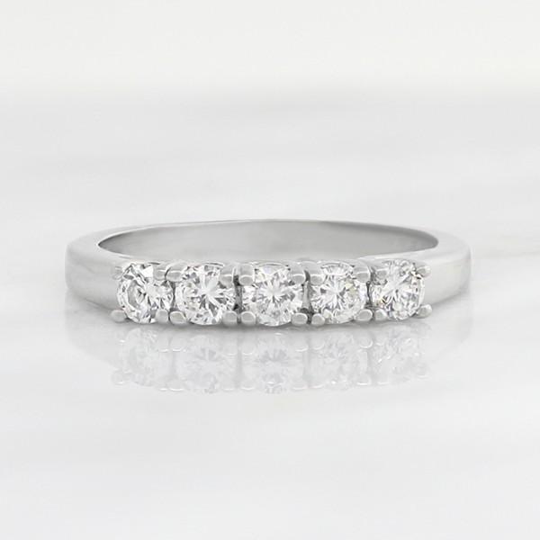 Trellis-Set 5 Stone Round Brilliant Band - Palladium - Ring Size 7.25-8.25