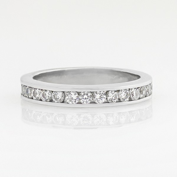 Semi-Eternity Band with Round Brilliant Nexus Diamonds - Palladium - Ring Size 5.5
