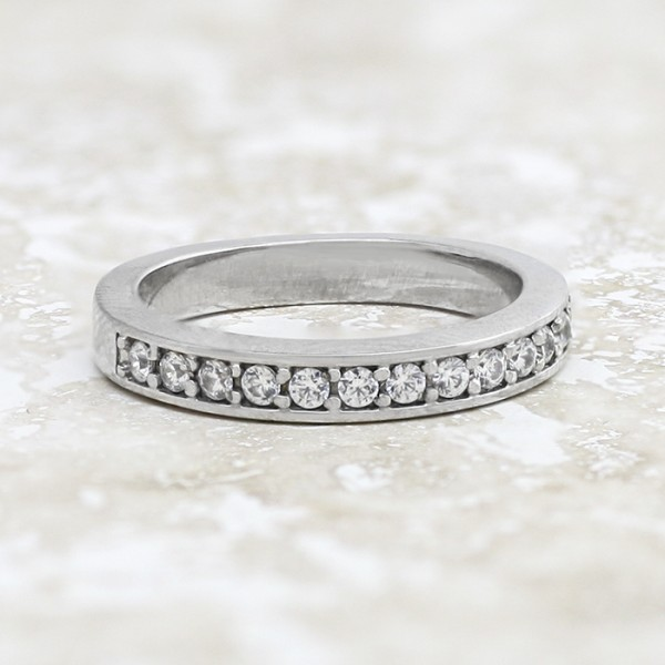 Slender Round Brilliant Semi-Eternity Band - 14k White Gold - RIng Size 6.0-7.0