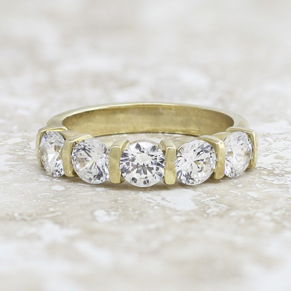 Bold 5-Stone Round Brilliant Band - 14k Yellow Gold - Ring Size 6.5