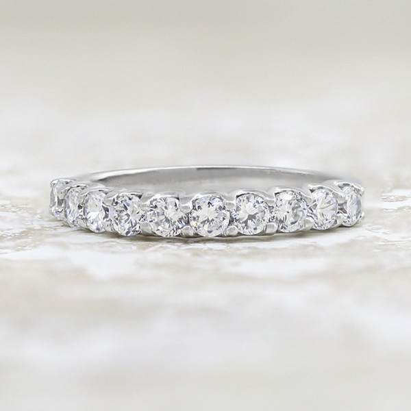 Round Brilliant Cut in Semi-Eternity Band - 14k White Gold - Ring Size 9.5-10.0