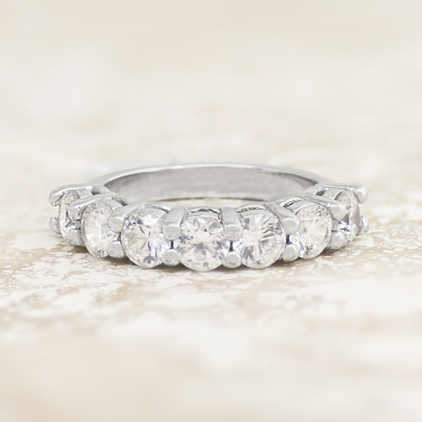 Adrienne Wedding Band with 1.75 Total Carat Weight - 14k White Gold - Ring Size 9.5-10.5
