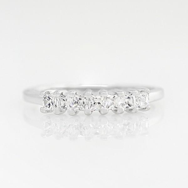 Petite Princess Cut Band - 14k White Gold - Ring Size 4.0-5.25