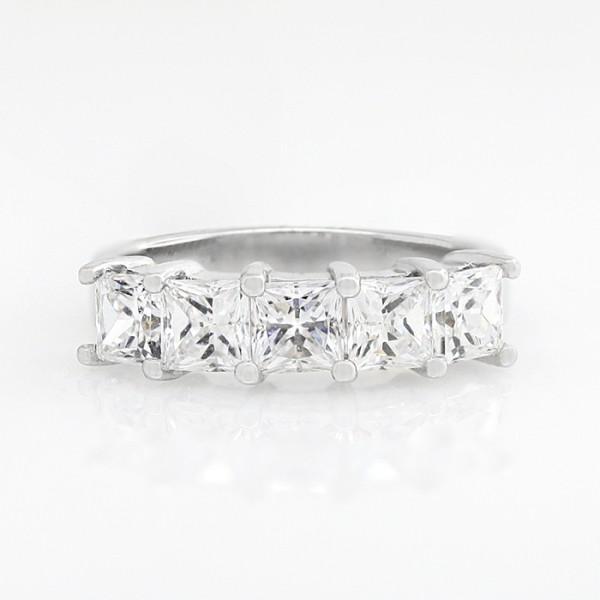 Bold 5-Stone Princess Cut Band - 14k White Gold - Ring Size 8.0-9.0