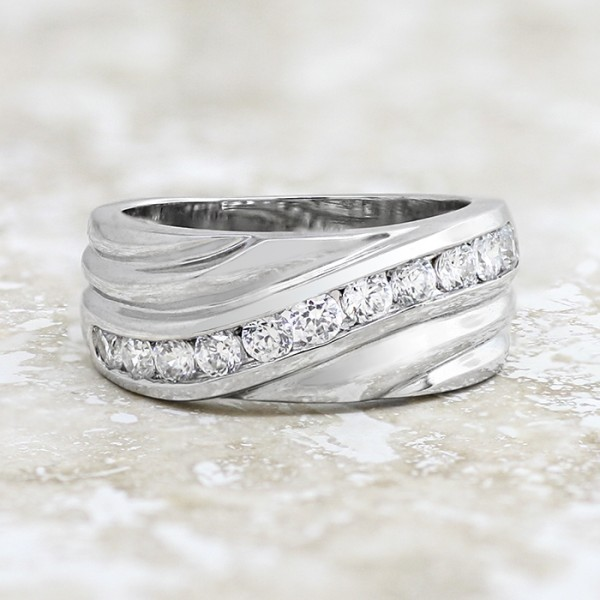 Curved Accented Band with Metal Detailing - 14k White Gold - Ring Size 7.0-8.0