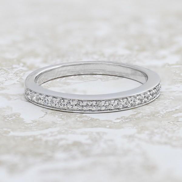 Eden Matching Band - 14k White Gold - Ring Size 7.0-9.0