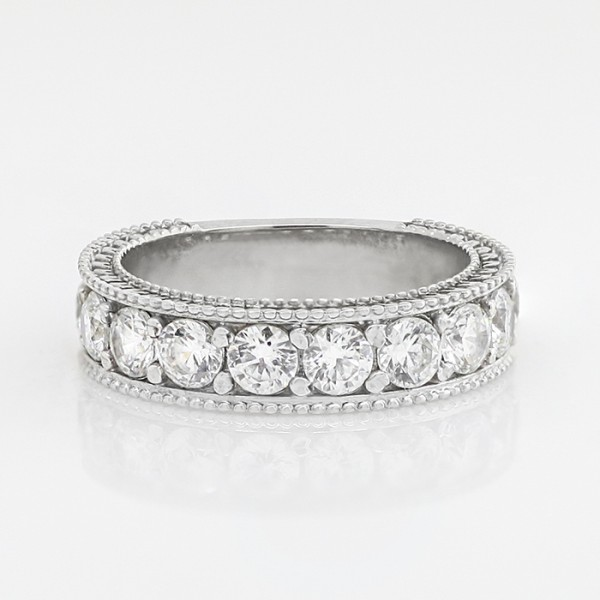 Ornate Semi-Eternity Band with 1.80 Total Carat Weight - 14k White Gold - Ring Size 5.75-6.25