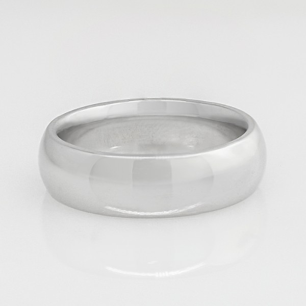 Ladies 6mm Plain Band - 14k White Gold - Ring Size 7.0