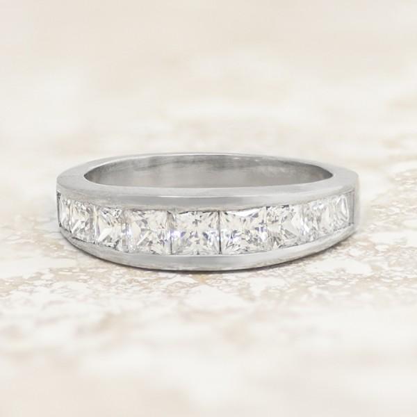 Cascading Princess Cut Stone Band - Palladium - Ring Size 7.0