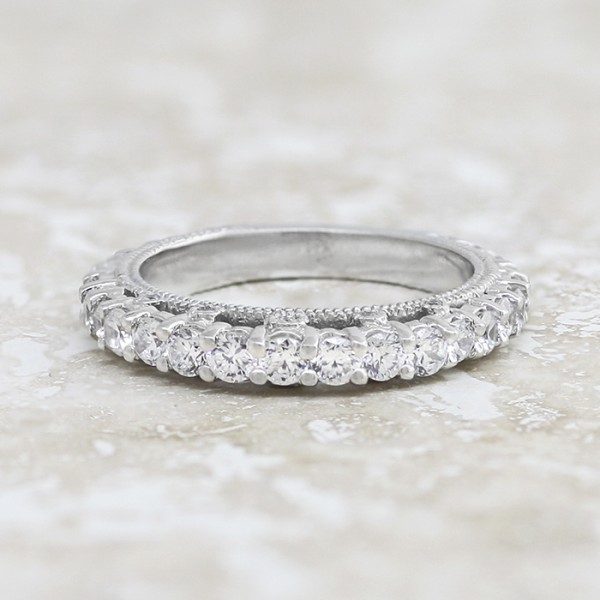 Modified Pompeii Matching Band - 14k White Gold - Ring Size 7.0