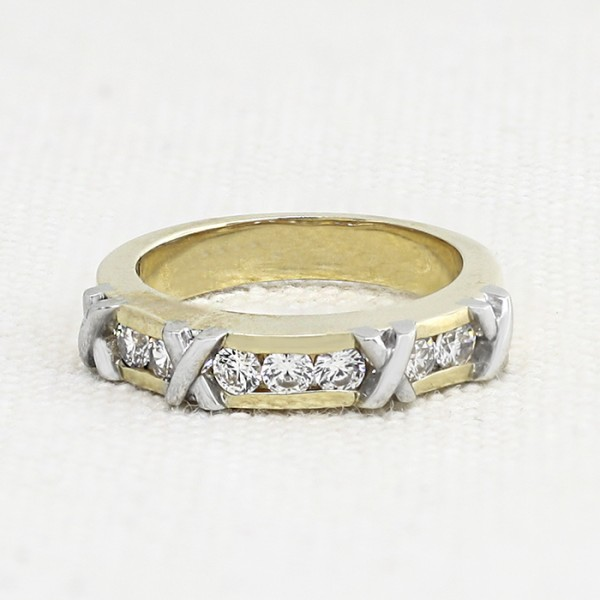 Sociey Pages Matching Band - 14k Yellow and White Gold - Ring Size 5.25