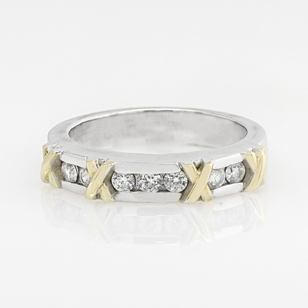 Society Pages Matching Band - 14k White and Yellow Gold - Ring Size 5.0