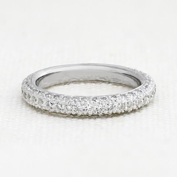 Round Brilliant Semi-Eternity Band - 14k White Gold - Ring Size 8.0-9.0