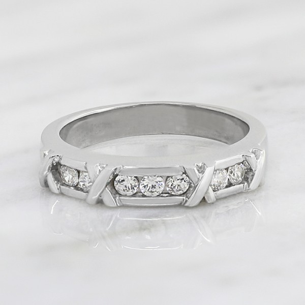 Society Pages Matching Band - 14k White Gold - Ring Size 8.0