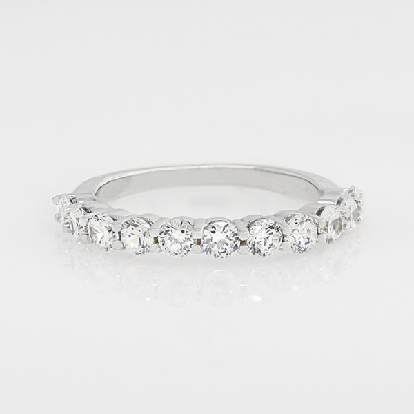 Round Brilliant Semi-Eternity Band - 14k White Gold - Ring Size 8.0
